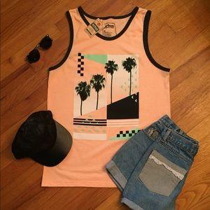 Throwback-Design Tank- Orange w/ Palm Trees